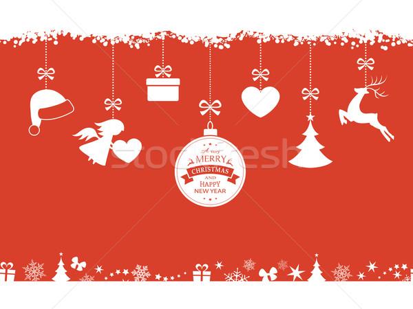 Rouge Noël suspendu ornements frontière Photo stock © wenani