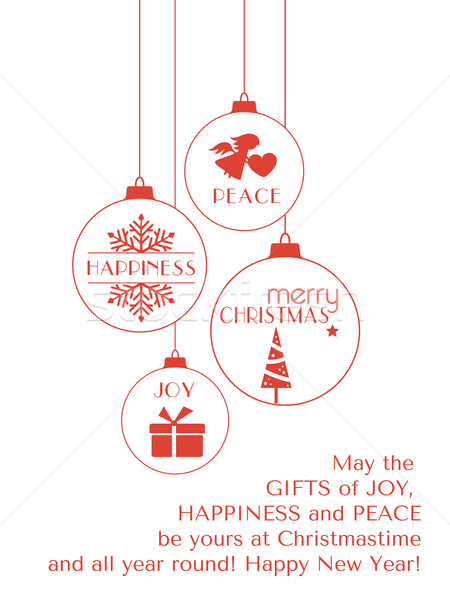Red Christmas typography card with hanging ornaments Stock photo © wenani