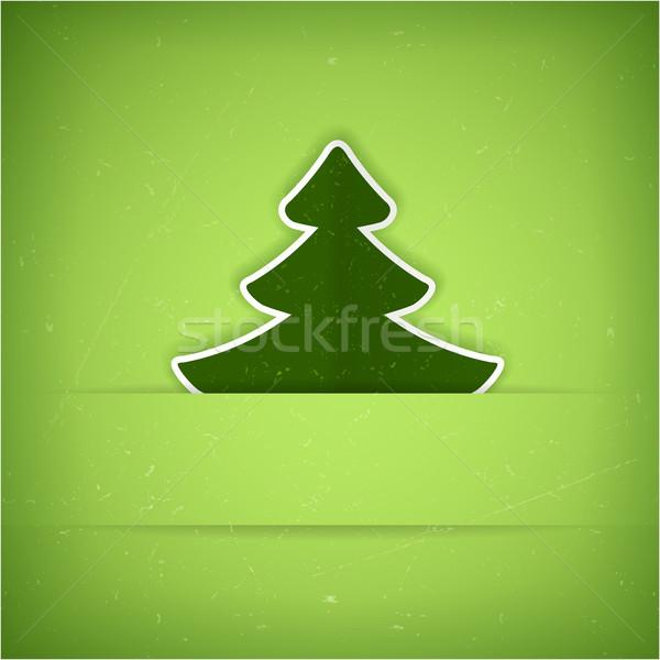 Groene kerstboom kaart vector textuur Stockfoto © wenani