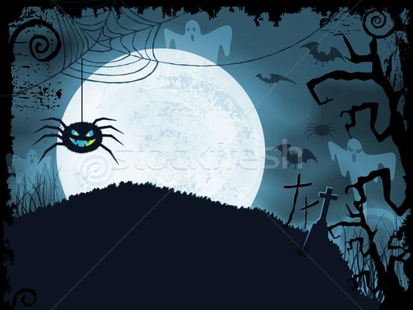 Bleu halloween effrayant araignée pleine lune Photo stock © wenani