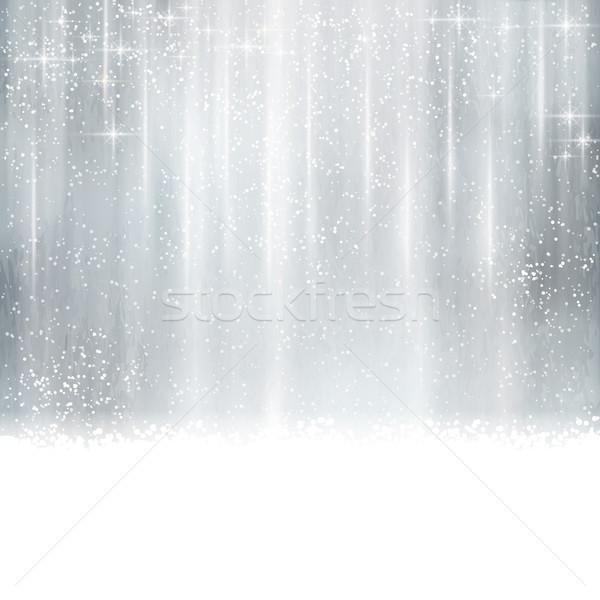 Résumé argent Noël hiver effets de lumière étoiles Photo stock © wenani
