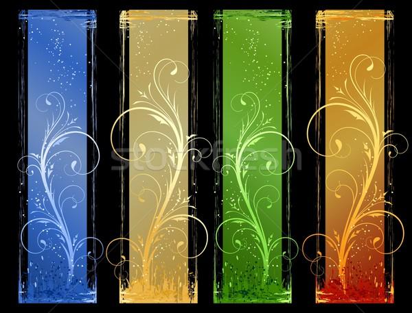 Résumé grunge bannières différent couleur floral Photo stock © wenani