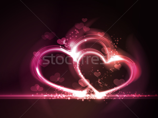 Red pink glowing hearts frame Stock photo © wenani