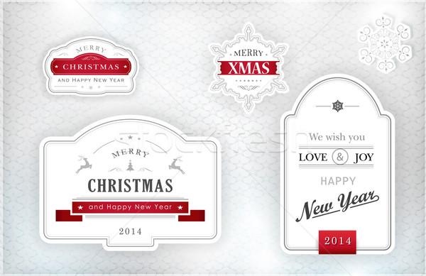 Elegante christmas ingesteld vrolijk gelukkig nieuwjaar Stockfoto © wenani
