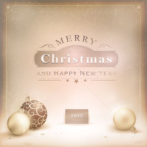 Desaturatet golden Christmas background with baubles Stock photo © wenani