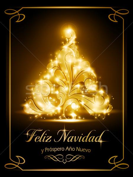 рождественская елка световыми эффектами темно коричневый Сток-фото © wenani