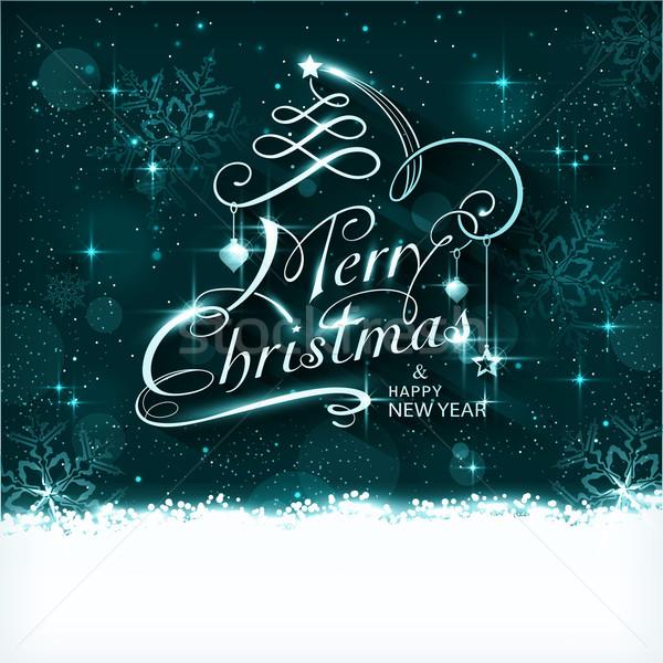 Magia natal noite tipografia cartão escuro Foto stock © wenani