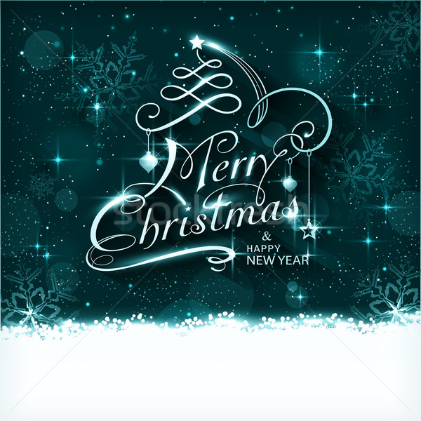 Magie christmas nacht typografie kaart donkere Stockfoto © wenani