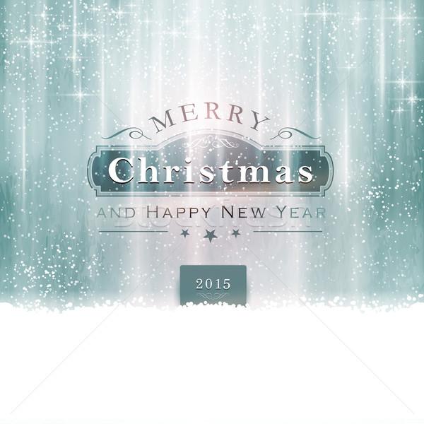 Argent bleu joyeux Noël typographie résumé Photo stock © wenani