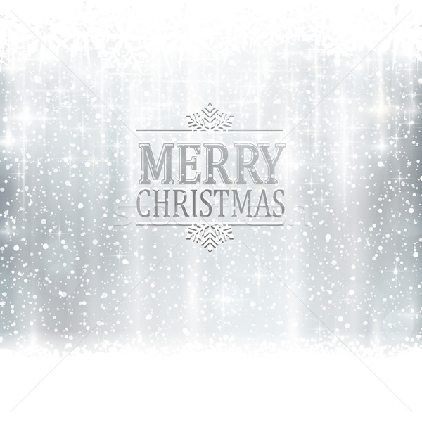 Silver Merry Christmas typography card with light effects Stock photo © wenani