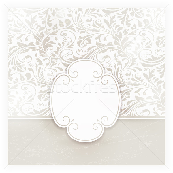 Grungy floral card with label  Stock photo © wenani