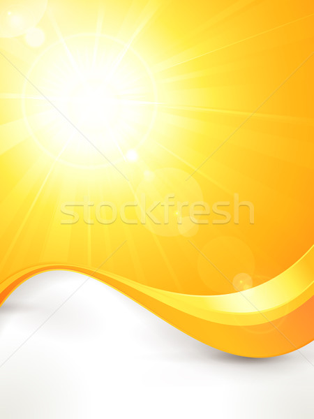 Stock photo: Vibrant hot vector summer sun with lens flare and wave pattern