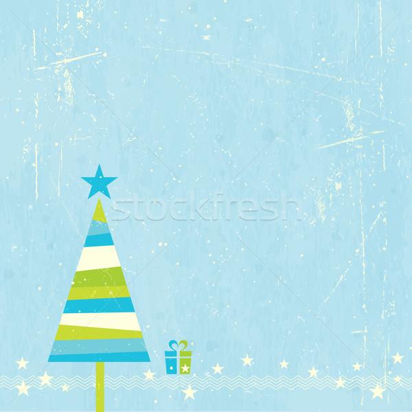 árbol de navidad presente verde azul a rayas estrellas Foto stock © wenani