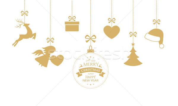 Ingesteld opknoping christmas ornamenten snuisterij Stockfoto © wenani