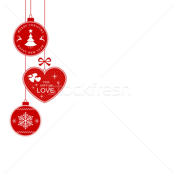 Navidad frontera colgante adornos corazón Foto stock © wenani