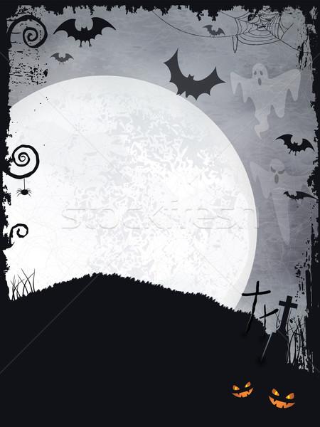 Хэллоуин полнолуние Призраки крестов Сток-фото © wenani