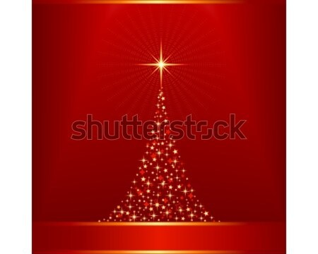 Red golden Christmas tree Stock photo © wenani