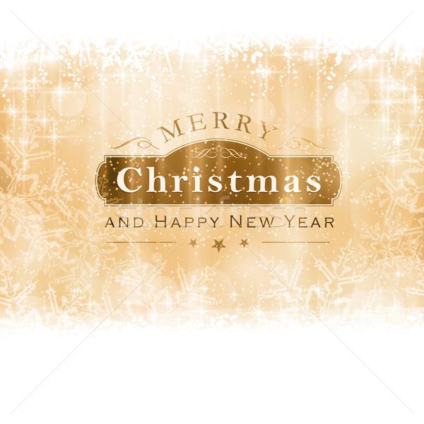 Or joyeux Noël carte de vœux effets de lumière Photo stock © wenani
