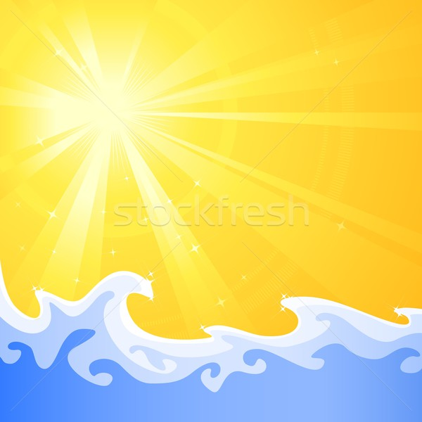 Hot summer sun and cool relaxing water waves Stock photo © wenani