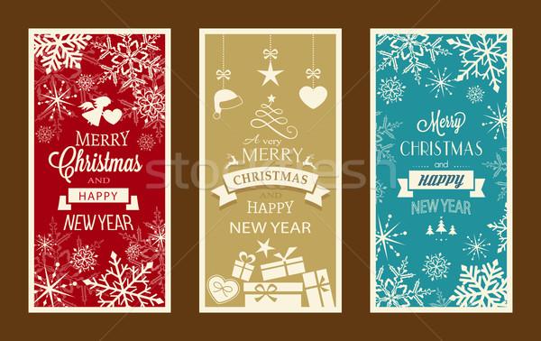 Ingesteld christmas gelukkig nieuwjaar typografie vrolijk Stockfoto © wenani