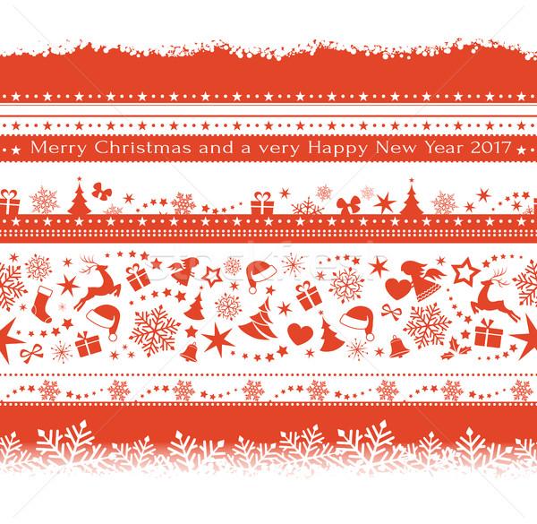 Ingesteld naadloos christmas monochroom Stockfoto © wenani