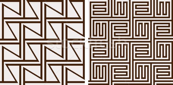 Set of 2 monochrome seamless patterns Stock photo © wenani