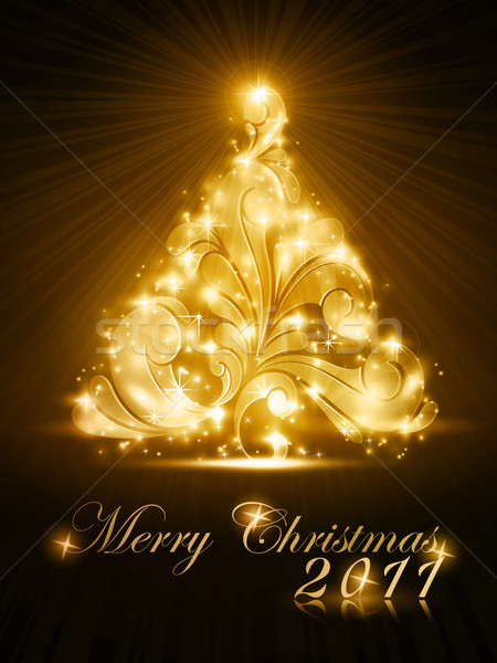 Christmas tree 2011 card with golden glow and sparkles Stock photo © wenani