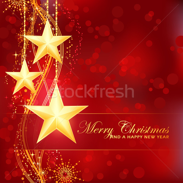Golden Merry Christmas stars on red bokeh background Stock photo © wenani