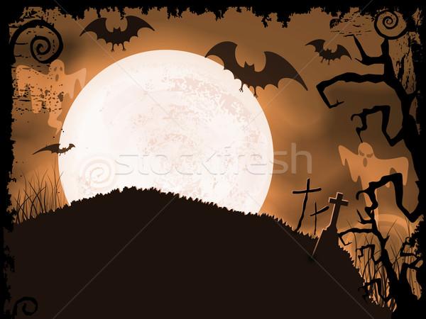 оранжевый Хэллоуин ночь полнолуние Призраки Сток-фото © wenani
