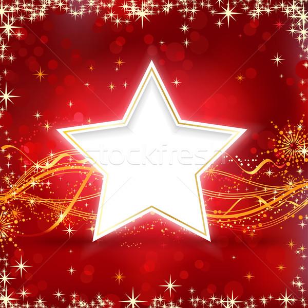 Rouge or Noël star étoiles neige Photo stock © wenani