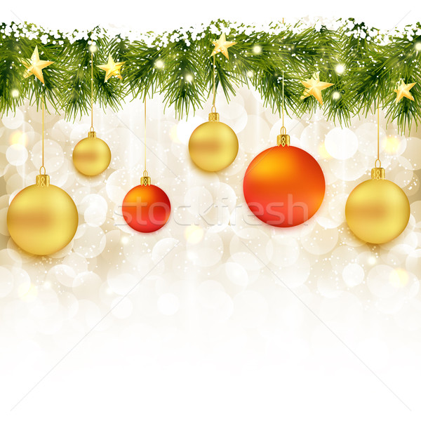 Border of fir twigs with hanging Christmas ornaments Stock photo © wenani