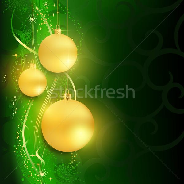 Gouden donkere groene feestelijk christmas patroon Stockfoto © wenani