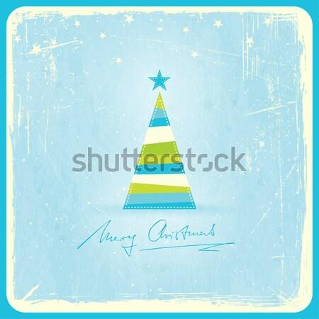 Retro árvore de natal grunge ilustração estilizado pálido Foto stock © wenani