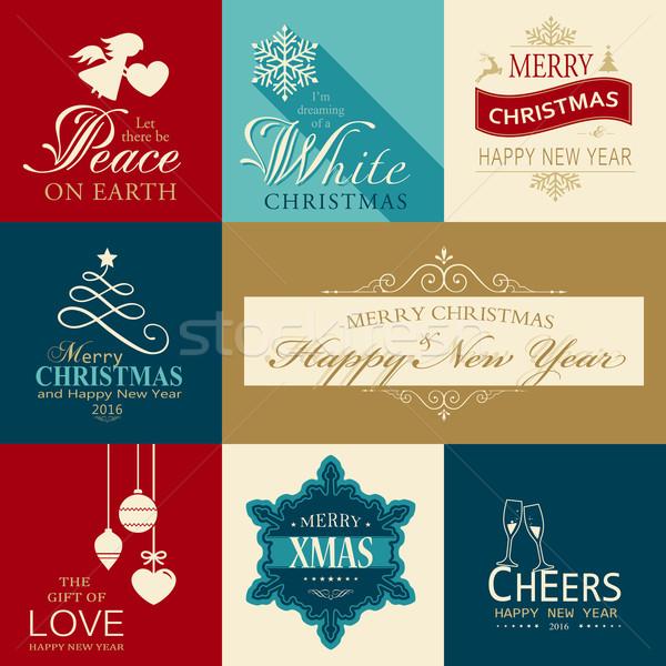 Establecer Navidad feliz año nuevo banners Foto stock © wenani