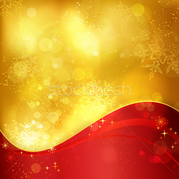 Zdjęcia stock: Czerwony · złoty · christmas · płatki · śniegu · świetle · efekt