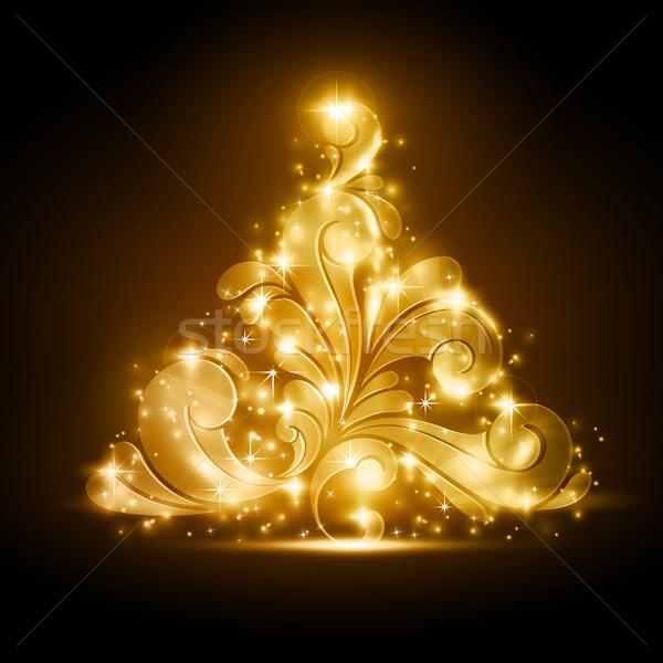 Arbre de noël or lueur tourbillons chaud sombre Photo stock © wenani