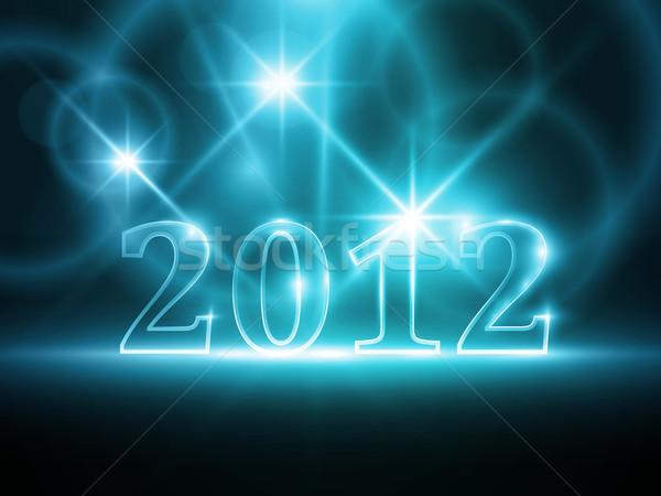 Abstract Blauw jaar 2012 aantal donkere Stockfoto © wenani