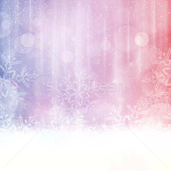 Hiver flocons de neige résumé bleu rouge pourpre Photo stock © wenani