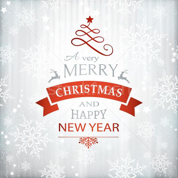 красный серебро Рождества типографики снежинка Сток-фото © wenani