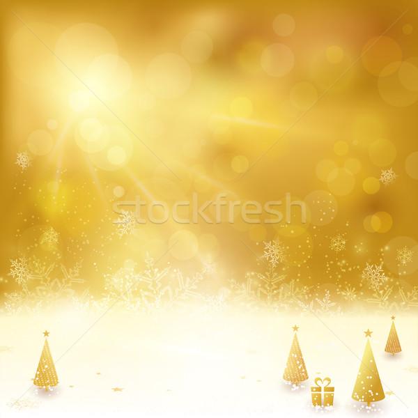 Gouden christmas kerstboom aanwezig feestelijk sterren Stockfoto © wenani