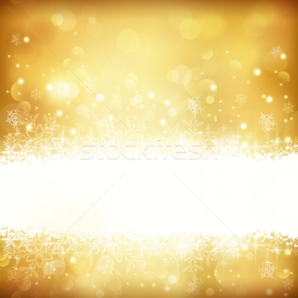 Golden glowing Christmas background with stars, snowflakes and lights Stock photo © wenani