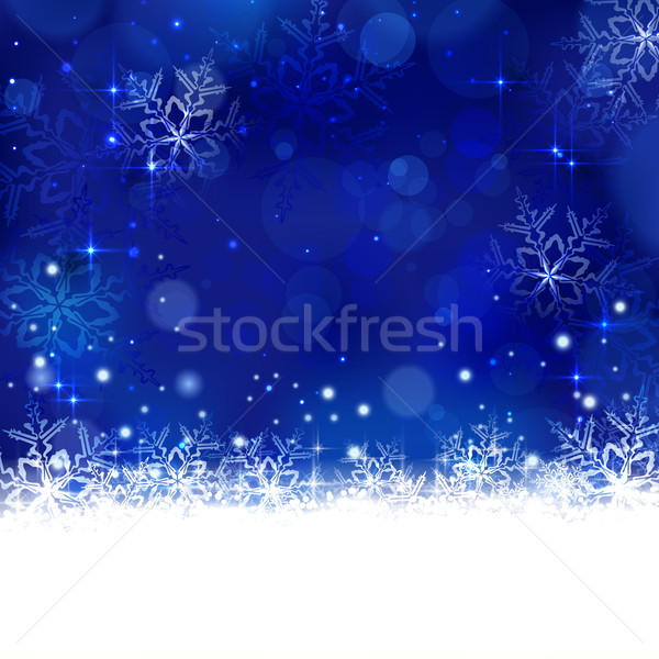 Azul inverno natal flocos de neve estrelas brilhante Foto stock © wenani