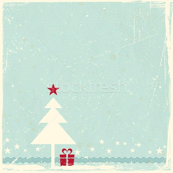 Grunge árbol de navidad ilustración rojo estrellas pálido Foto stock © wenani
