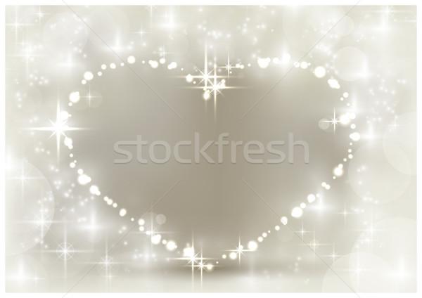 Zilver christmas hart ruimte Stockfoto © wenani