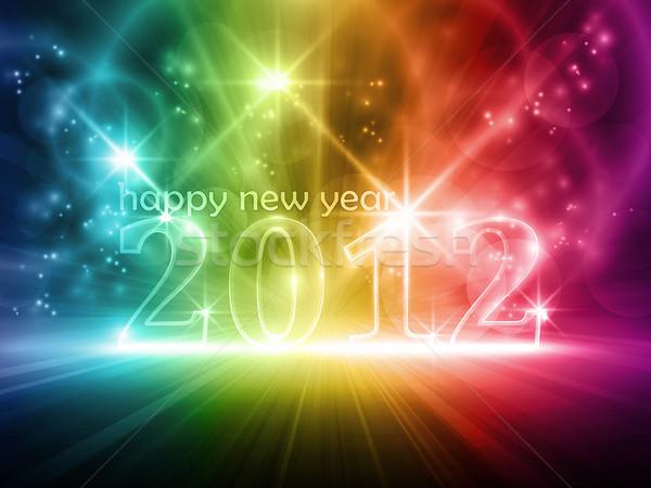 Gelukkig nieuwjaar 2010 transparant aantal 2012 kleurrijk Stockfoto © wenani