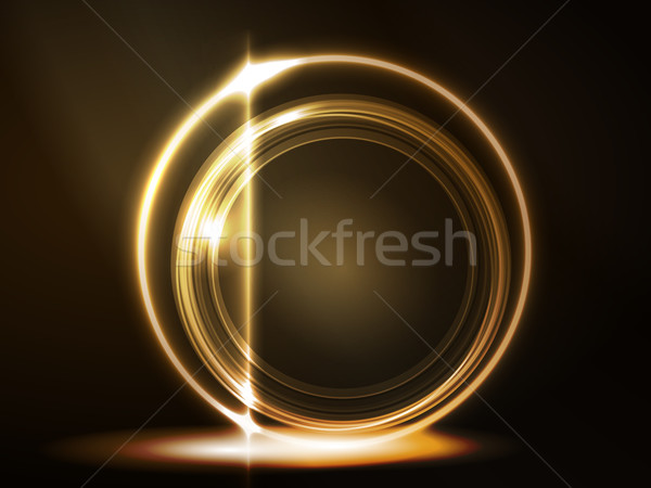 Golden glowing round frame Stock photo © wenani