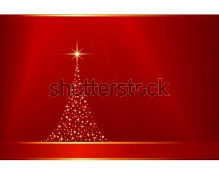 Rouge or vecteur arbre de noël espace de copie carré Photo stock © wenani