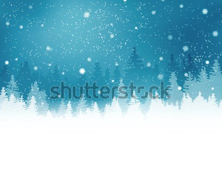 Winter landscape with fir trees and snowfall Stock photo © wenani