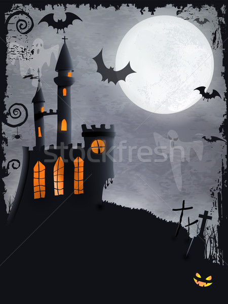 Spooky Halloween castle, vector background Stock photo © wenani