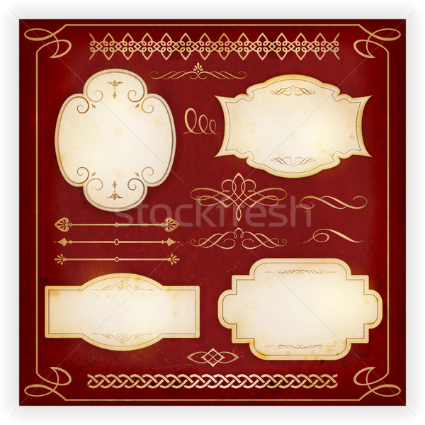 Various labels, borders, dividers, calligraphic design elements Stock photo © wenani